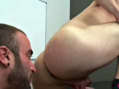 Muscular office hunk eats ass and sucks cock