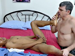 Blowjobs happy asian twink bareback banged by mature milf
