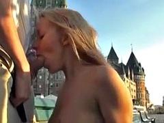 A beautiful blonde girl fucks outside
