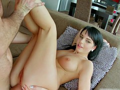 All  dark haired hottie takes a anal creampie