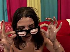 Beautiful brunette in a group bukakke messy sex