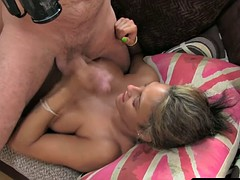 Bigtitted amateur porn cum on her face after
