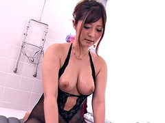 Wam japanese mature in lingerie rides cock in the bathroom