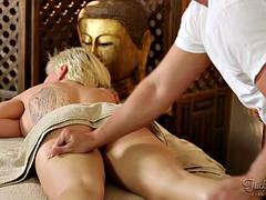 Massage for short hair to fuck blonde turns hardcore