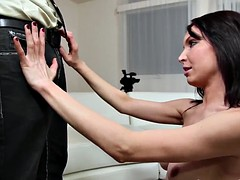 Reserved mature brunette fucks on video - the first time