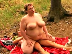 Fat bbw mature granny with big tits fucked in the forest