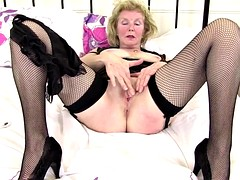 Kinky granny with old drilled thirsty vagina