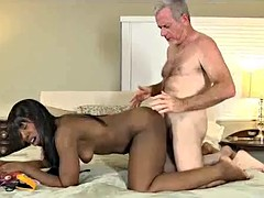Black babe sex games with the old white pervert
