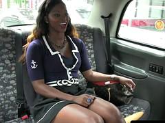 Ebony passenger taxi driver seduces to fuck