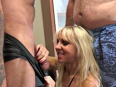 Mischevious blonde milf sucks two cocks powerful love