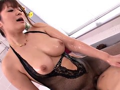 Japanese milf creampied after fat massage