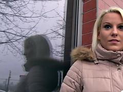 Shy blonde czech republic takes a huge cock in public