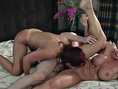 Bigtitted mature guy seduces cougar in threesome