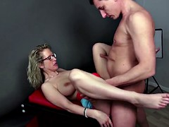 Amateur busty milf seducing young customer