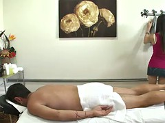 lusky guy fucks his massuse after an oil massage