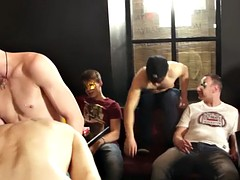 Tugging studs sucking cock during a party