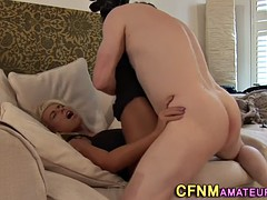 clothed babe rides cock