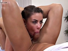 anal sex - brunette nikki waine takes a creampie in her ass