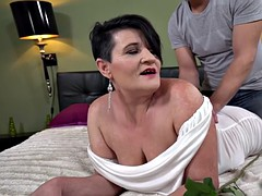 sexy busty granny enjoys sex with cum on her face