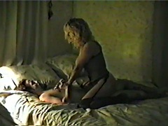 beautifully bigtit blonde girlfriend in lingerie with stockings riding like a f'n pro
