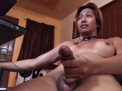 cute shemale tries to hold back cumshot