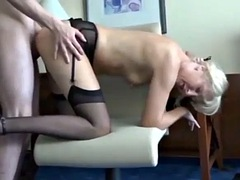 skinny inexperienced boy cums inside naughty mature milf