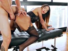 ts kalliny and tony enjoys anal sex and shares blowjobs