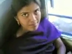 Indian girl showing boobs in bus