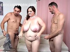 bbw milf has a threesome