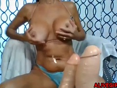 Real Sexy MILF Mary fucking and sucking huge dildo