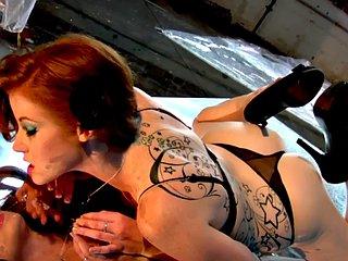 Curvy glamcore ginger masturbates solo in sexy lingerie