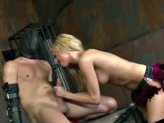 Sexy dominant blonde strokes slaves huge cock and sucks - Victoria White