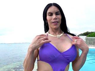 Phat ass Latina crossdressers bareback facefucked in duo