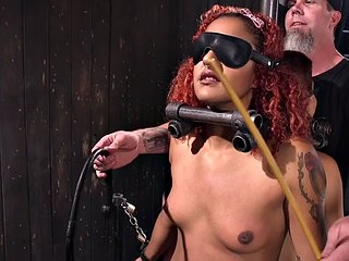 Tied up redhead girlfriends whipped in erotic BDSM threesome