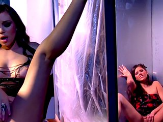Glamorous girls in lingerie and heels showing off their bodies
