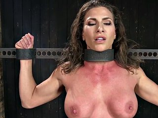 Busty bdsm sub spanked and fingered before squirting