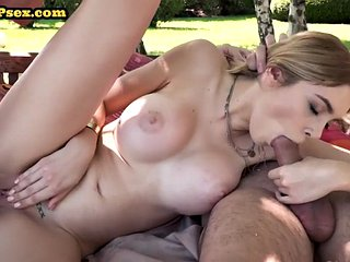 Busty dp gf double penetrated outdoors in kinky threesome