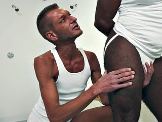 Skinny DILF licks her ass before fisting the muscular black guy