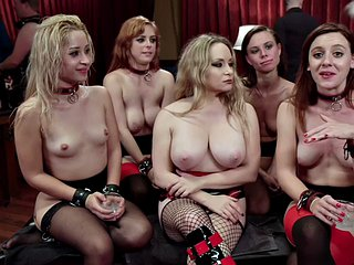 Bondage lingerie sluts ride masters cock in group