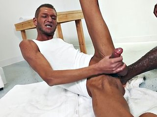 Big man in black top blowjob and deep fisting with skinny milf