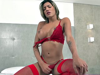 Busty lingerie tgirl tugging cock during solo session