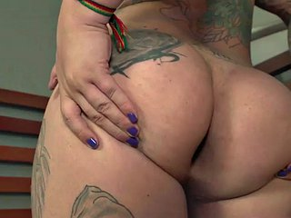 Thick latin trans babe wanking cock in erotic solo session
