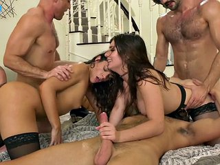 Babes ride bisexual cock in double penetration gangbang
