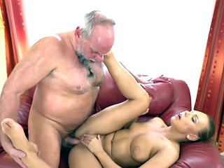 Booty babe rides senior cock in a dirty couple