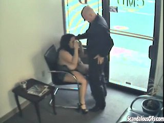 Chubby girlfriend sucking cock in public store
