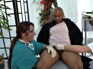 Dominas humble little black cock guy in a kinky trio