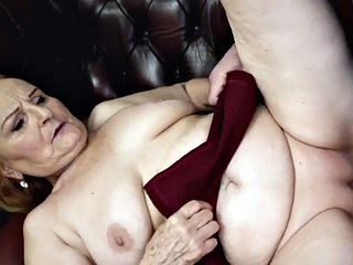 Curvy redhead granny rides cock in this very kinky couple