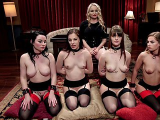 Bound girl dominated with toys in group during kinky group sex