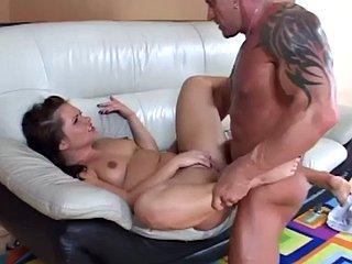 Teen slut rides hard cock after striptease