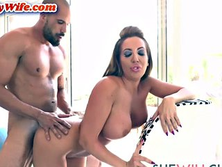 Greedy housewife pleases husband paired with blowjob and sex